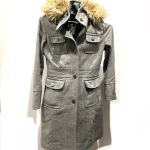 ESPRIT Gray Fur Hooded Pea Coat